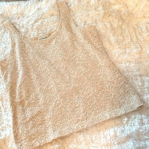 Chico's Design Taupe Lace Textured Tank Sz 0